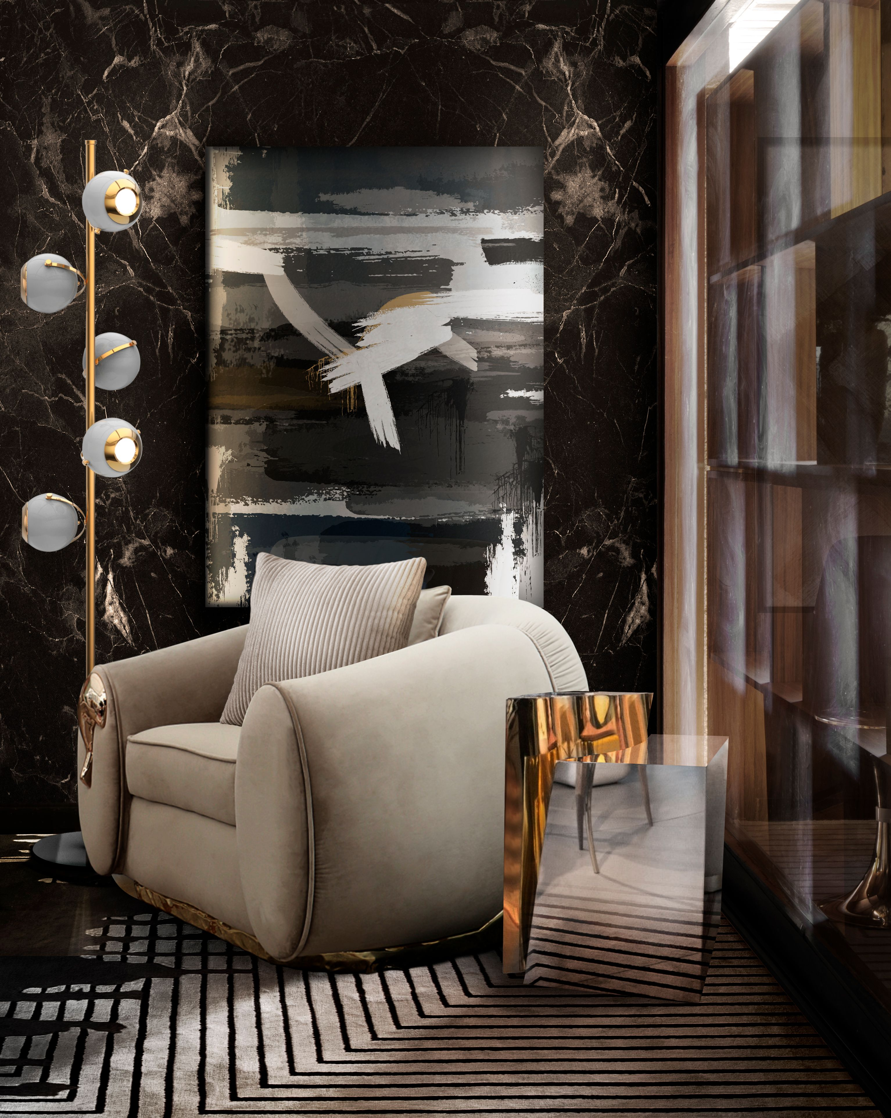 Discreet Reading Corner With Black Valencia Rug by Rug'Society