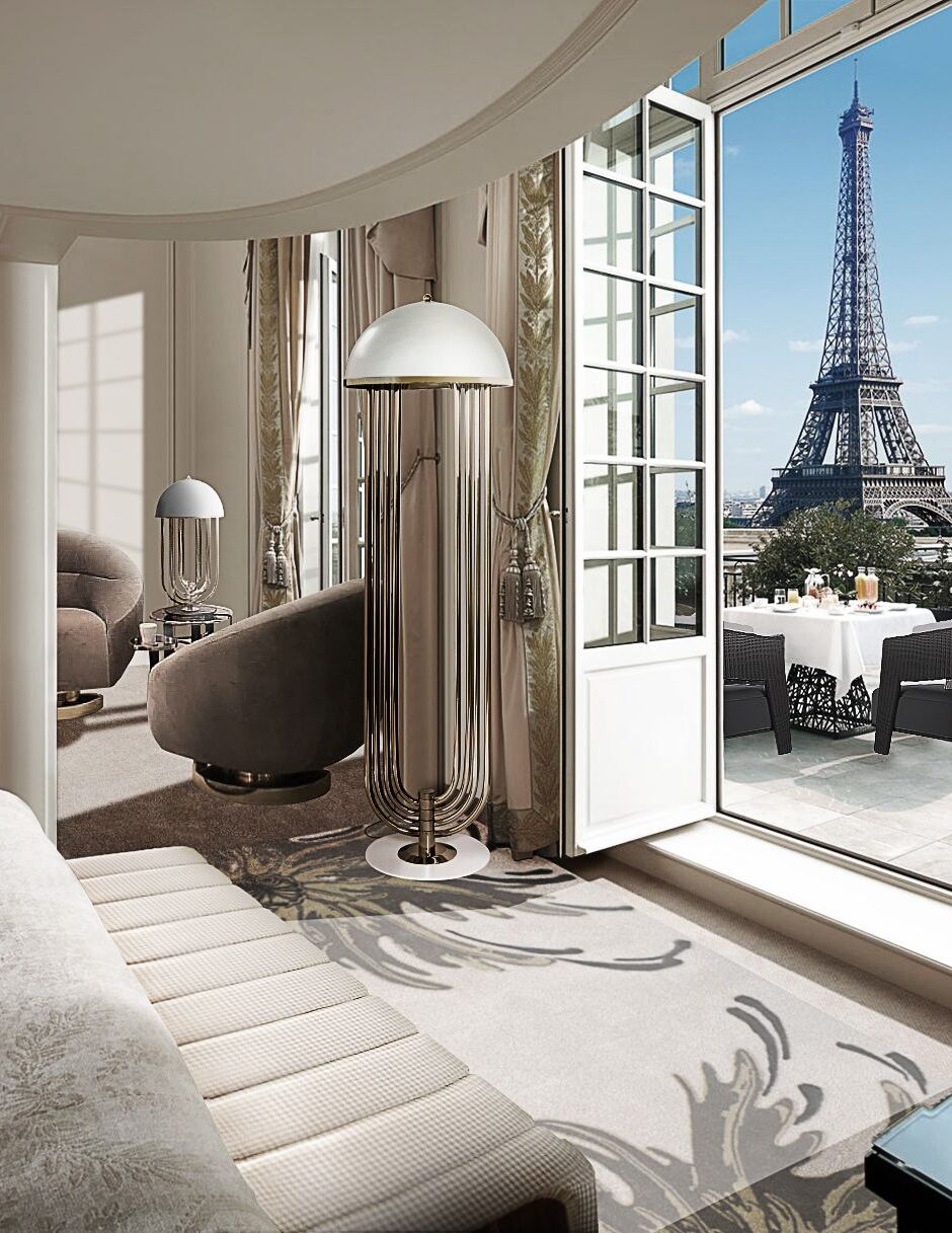 Parisian Hotel Bedroom With Neptuno Rug by Rug'Society
