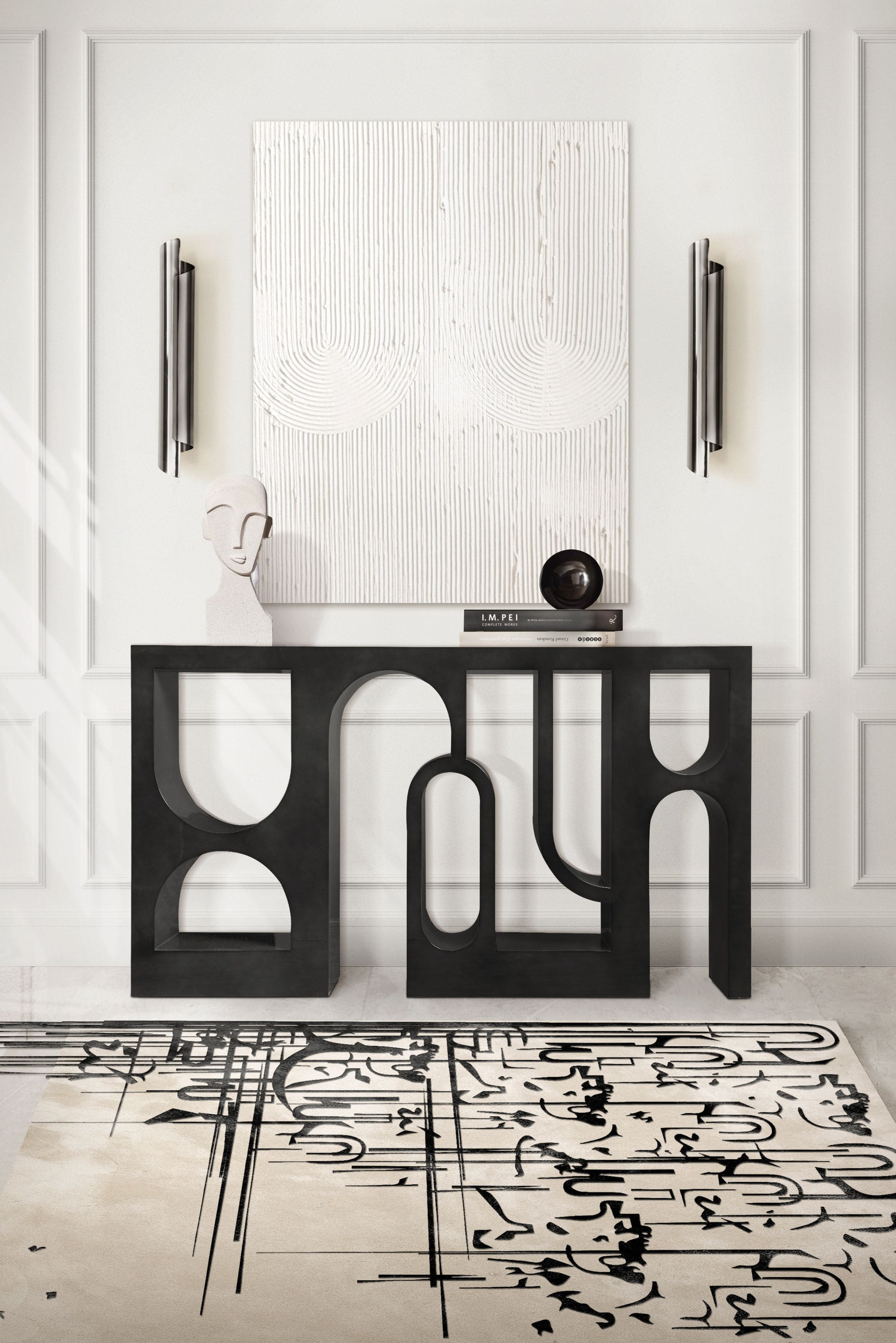 Rug'Society Modern Hallway with BLACK INK Rug by Rug'Society