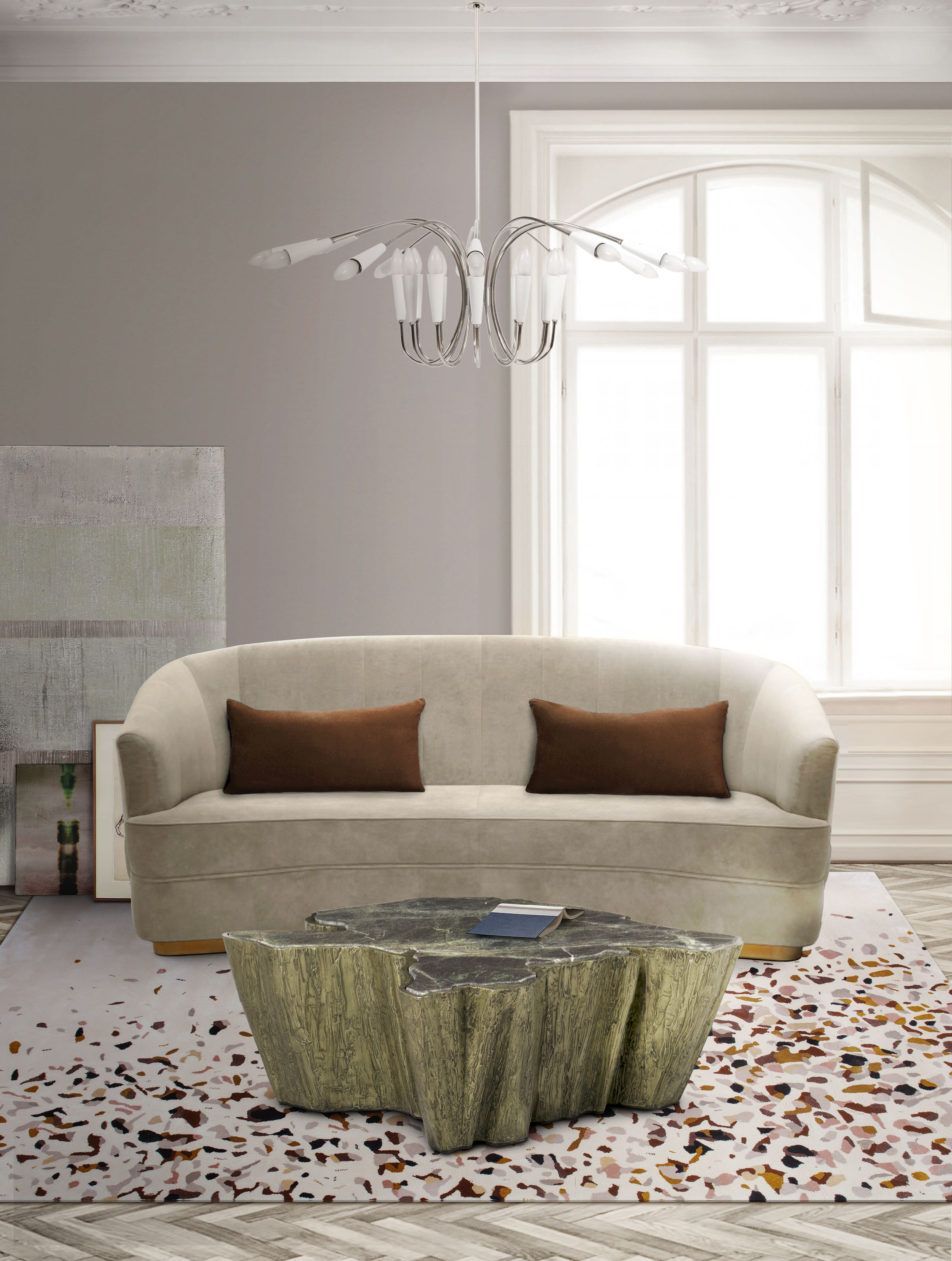 Terracotta Living Room With Terrazzo Rug by Rug'Society
