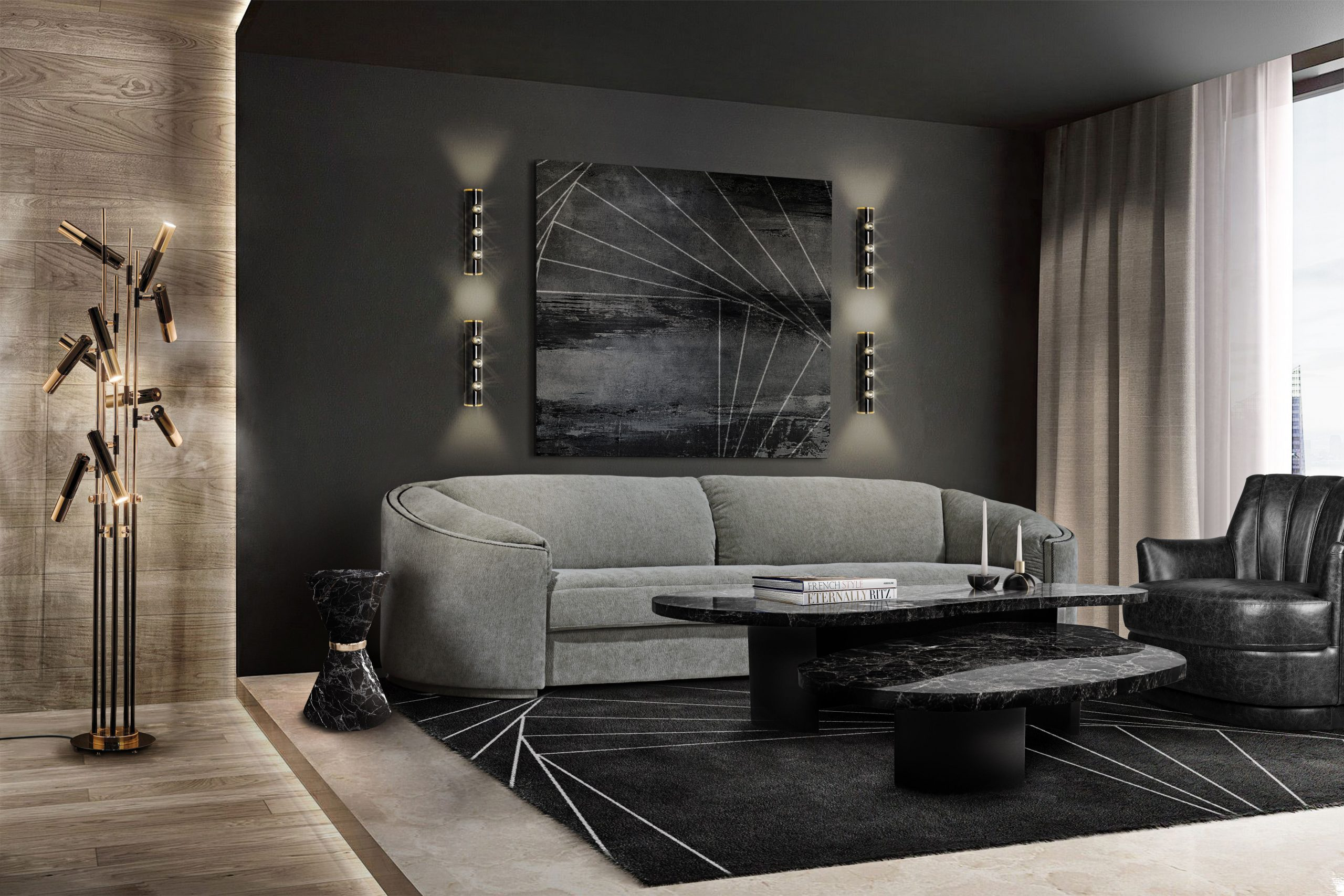MINIMALIST LIVING ROOM WITH INCEPTION RUG