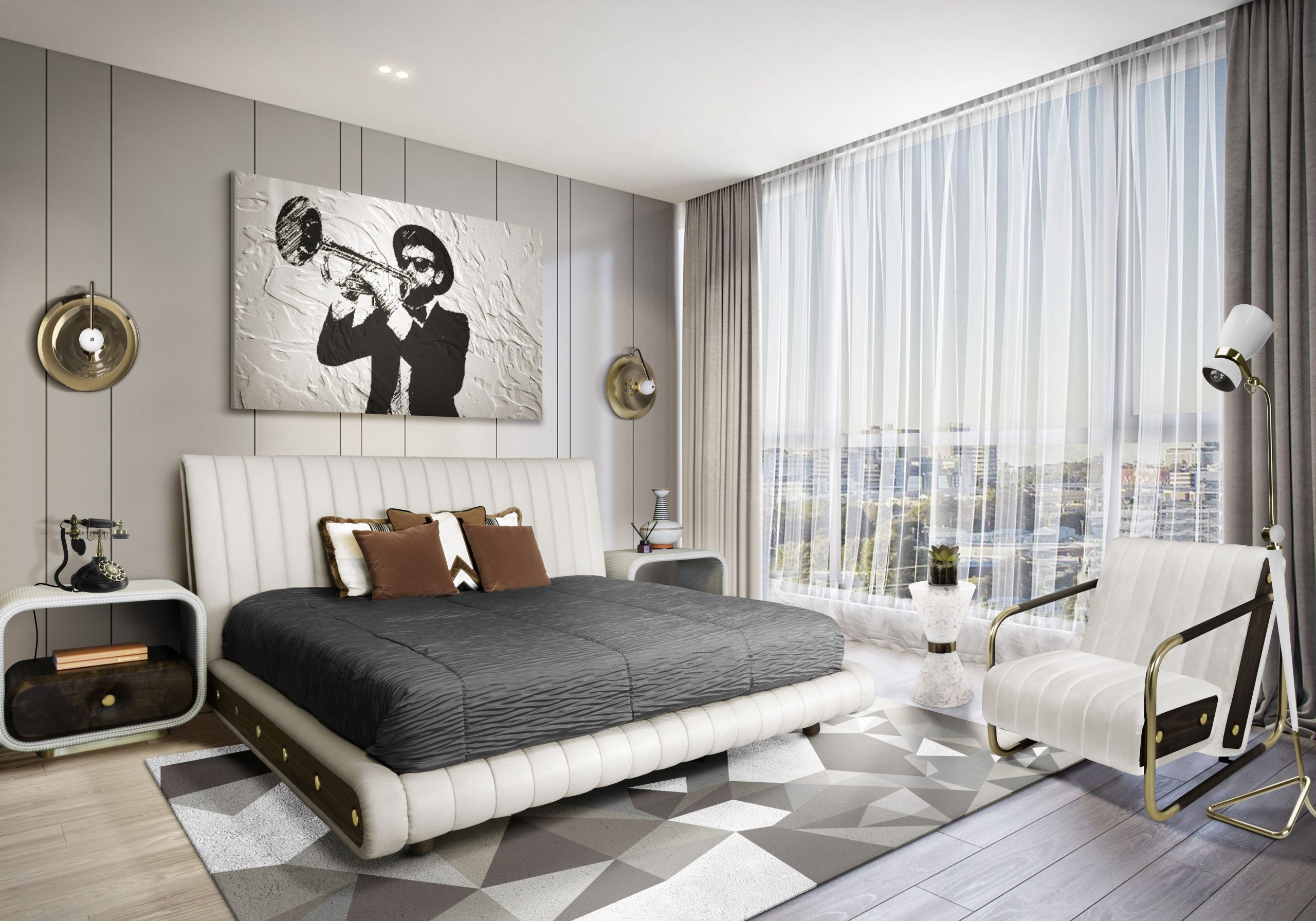 5 mid-century modern rug ideas - Mid-century bedroom With Diamond Rug