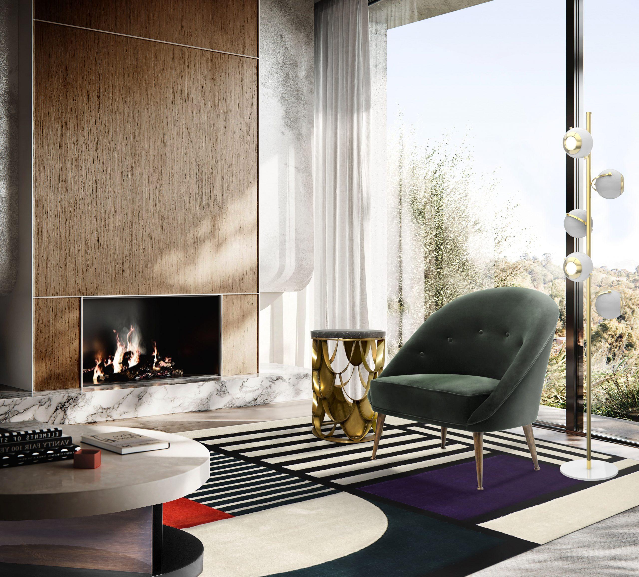 5 mid-century modern rug ideas - Mid-cenutry Living Room With Prisma I Rug