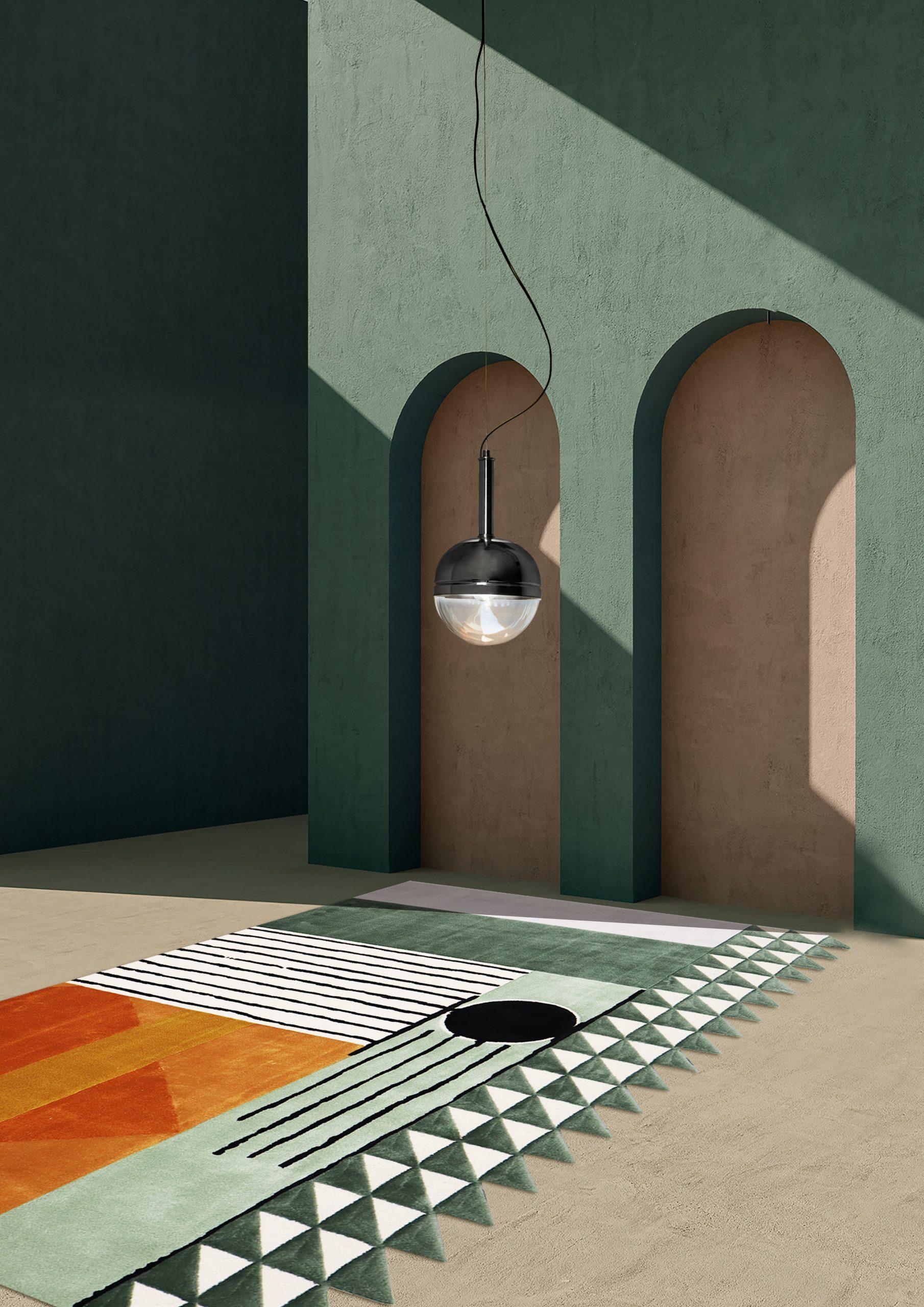 5 mid-century modern rug ideas- Simba Geometric Living Room