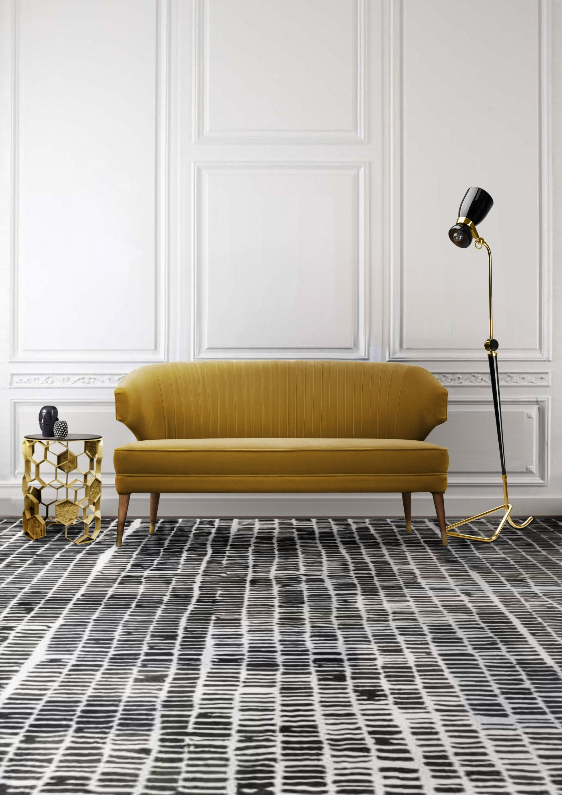 LIVING ROOM WITH A MINIMALIST DESIGN AND THE COLL AREA RUG
