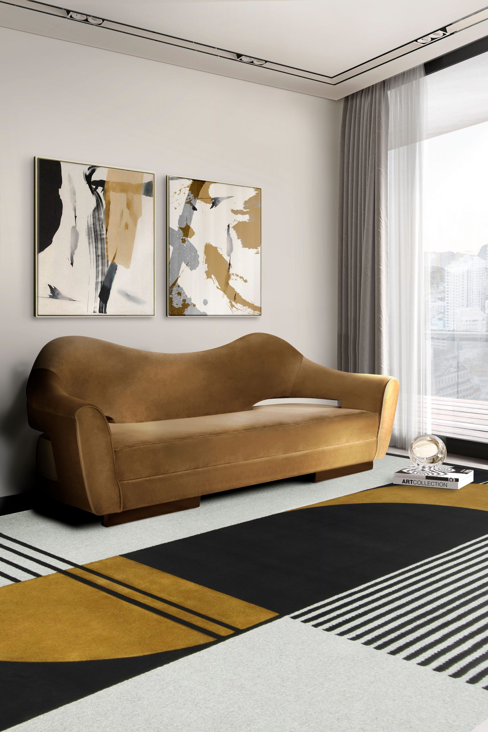 MODERN CONTEMPORARY LIVING ROOM WITH ANTELOPE COLORFUL RUG