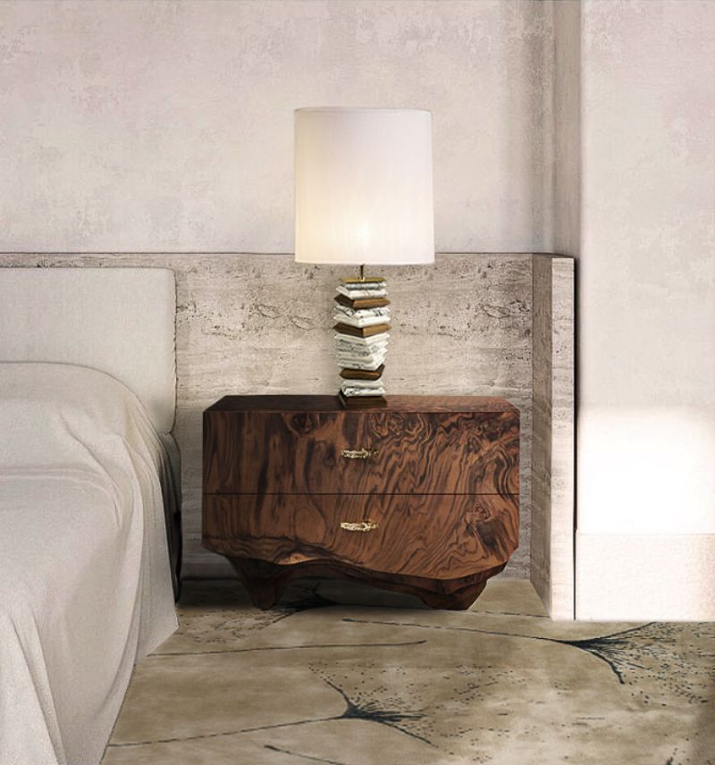 Rug's Inspirations For a Fantastic Home Interior  Modern Bedroom with the Macushi Rug in brownish tones. The nightstand has a wooden pattern that matches with the rug and brings emphasizes to the natural materials of the furniture. It is elegant yet simplistic.