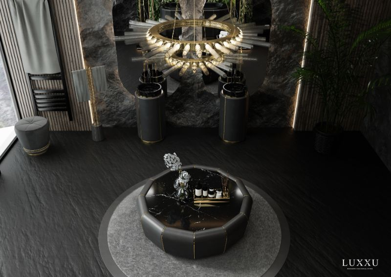 Rug's Inspirations For a Fantastic Home Interior,  Modern Classic Bathroom in Black and gray tones. A round light gray rug contrasts with the dark floor and makes it the focal point of the room underneath the bathtub.