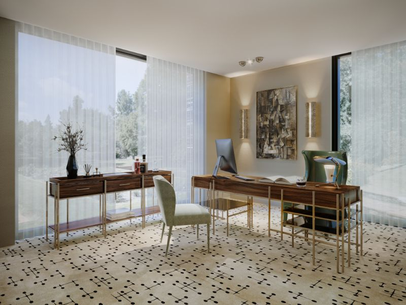 Rug's Inspirations For a Fantastic Home Interior Modern Contemporary office with the Umlaza Rug in neutral tones. The wooden pattern furniture gives it a rustic touch while the golden lights add a touch of sophistication.