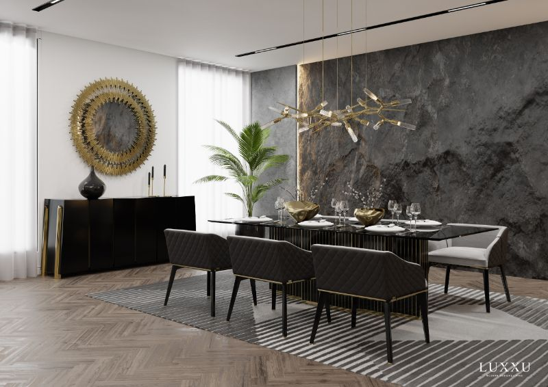 Rug's Inspirations For a Fantastic Home Interior Design, modern dining room, air rug, striped black and gray rug