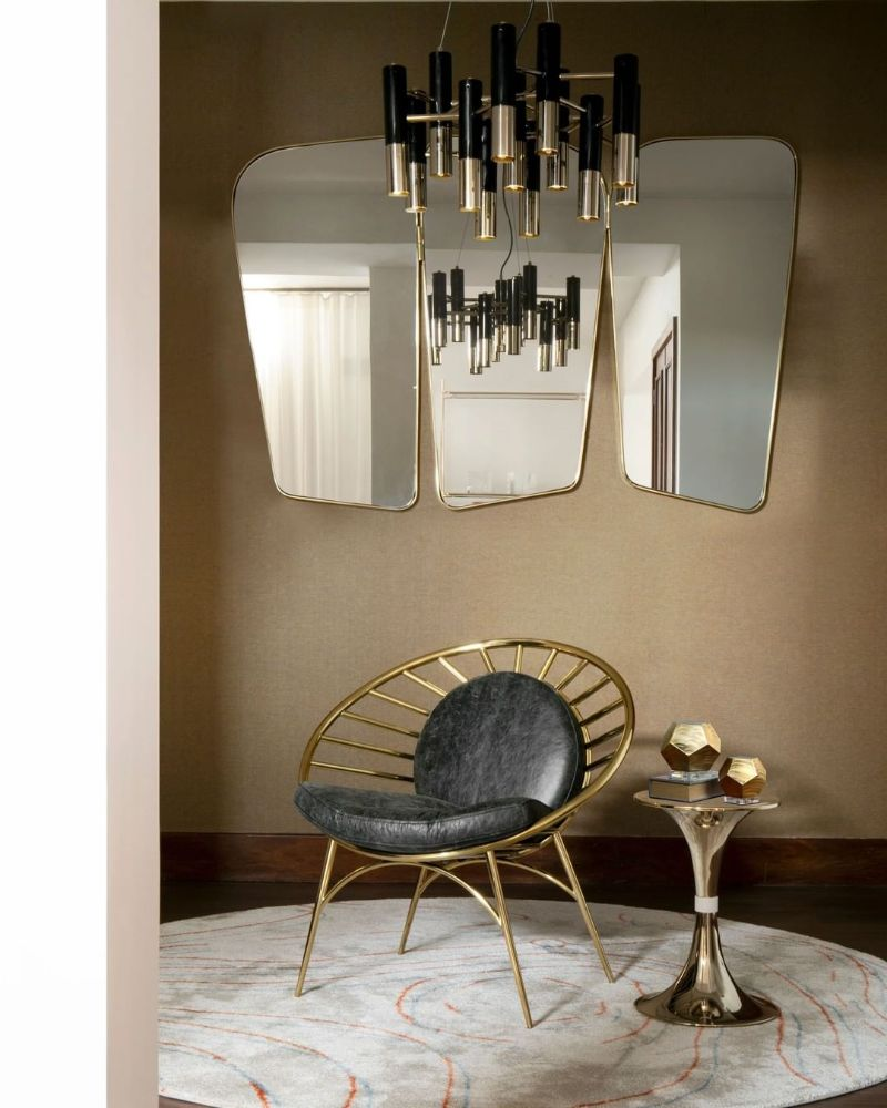 Rug's Inspirations For a Fantastic Home Interior Design  reading corner with a gold and white round rug